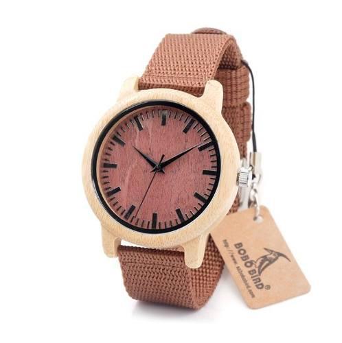 Reloj Unisex Estilo Moderno De Madera De Bambú Para Regalo