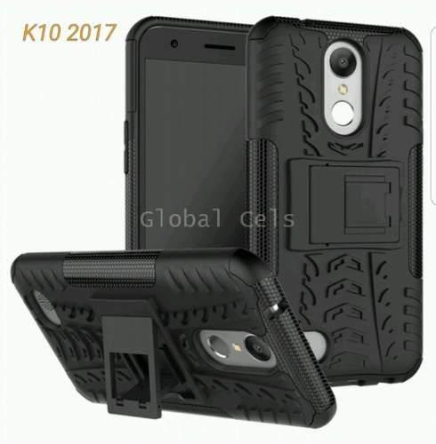 Case Lg K10 2017 C/ Parante 2 Piezas Cover Carcasa Antigolpe