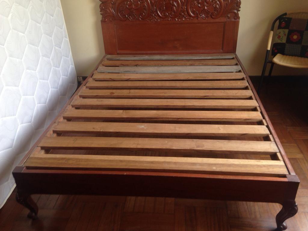 Cama de 2plz Tallada en madera Caoba estilo Luis XV