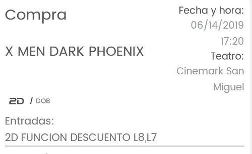 2 Entradas En 2d En Cinemark San Miguel Este Viernes 5:20p.m