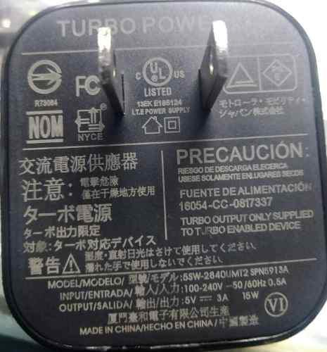 Cargador Original Motorola Turbo Power 15 + Cable Usb V8.3a