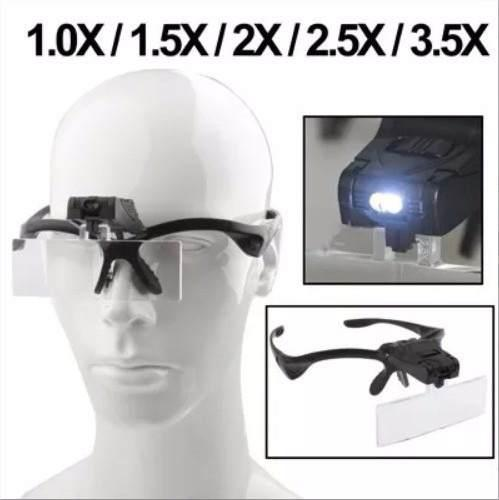 Gafas Lentes Lupa Con 5 Medidas Intercambiables Con Luz Led