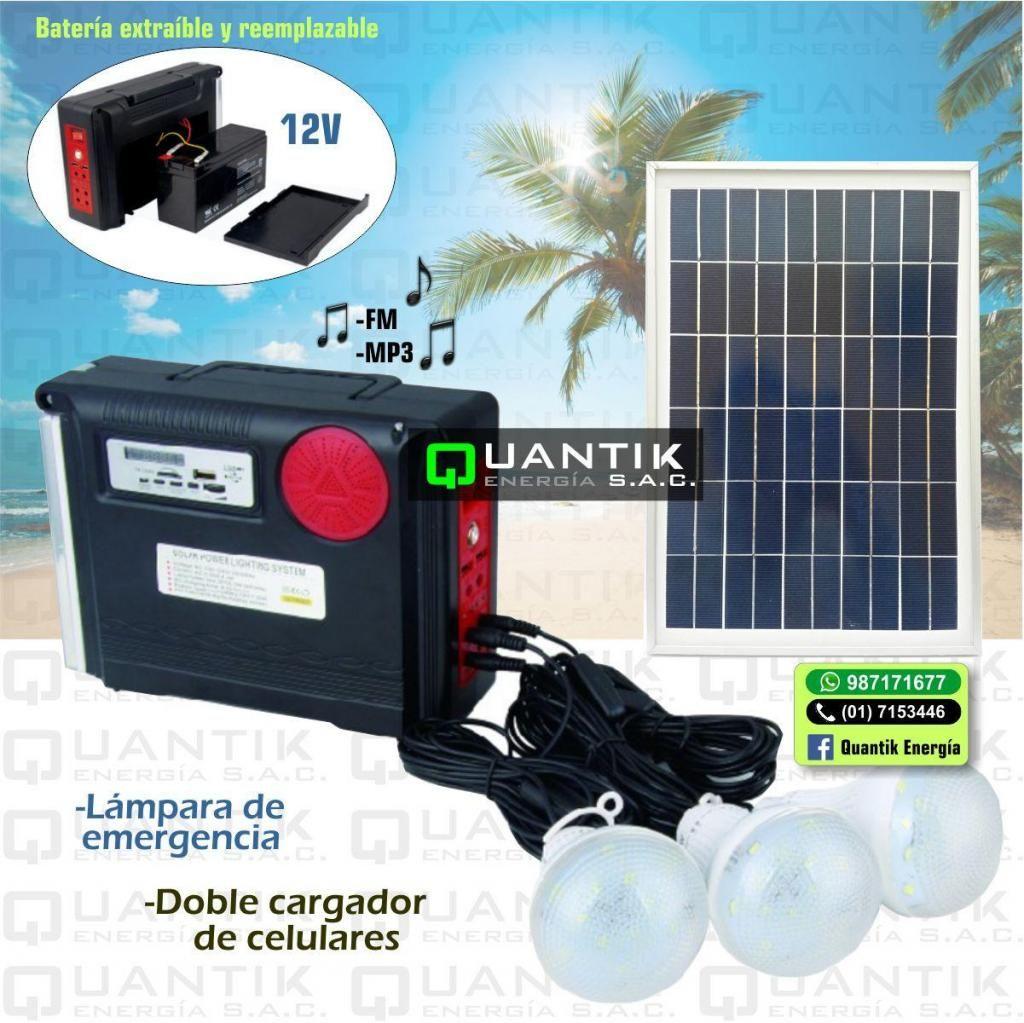 KIT SOLAR PORTATIL 12V, CON RADIO, 3 FOCOS LED Y LAMPARA DE