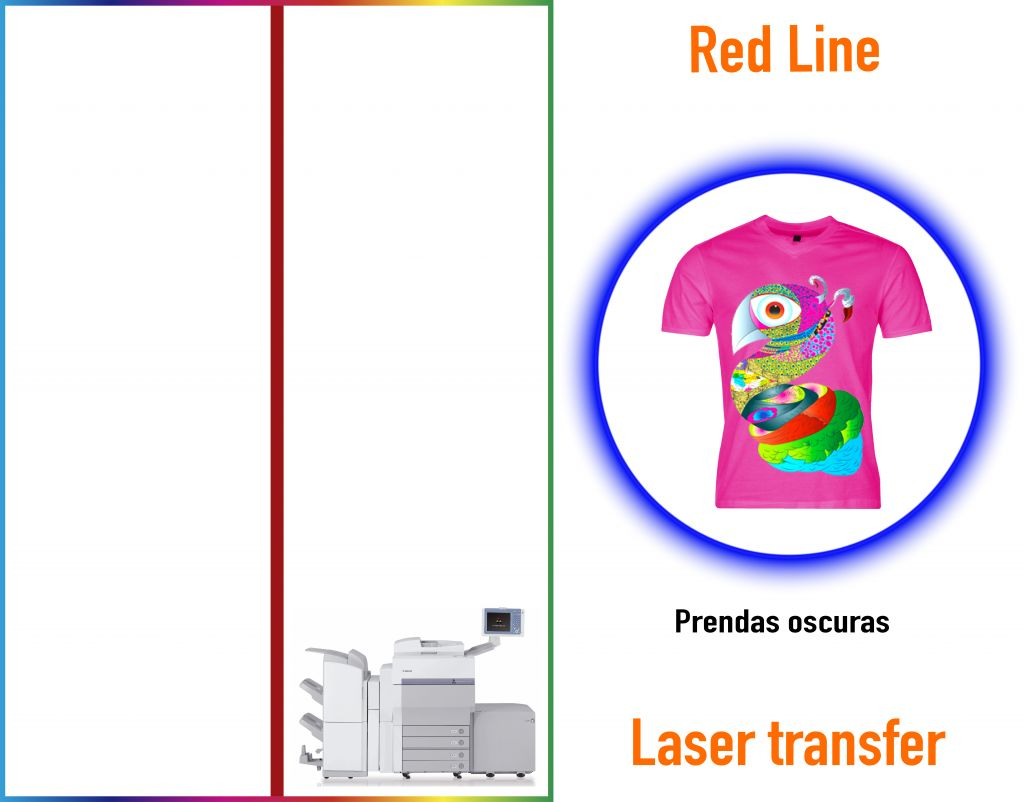 papel transfer linea roja
