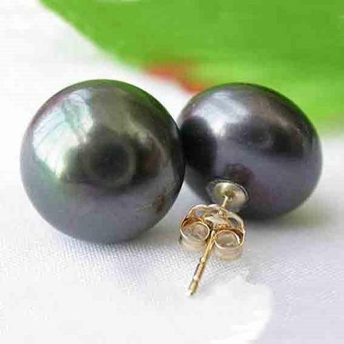 Aretes Oro 14k Y Perlas Negras Genuinas Cultivadas 10-11mm