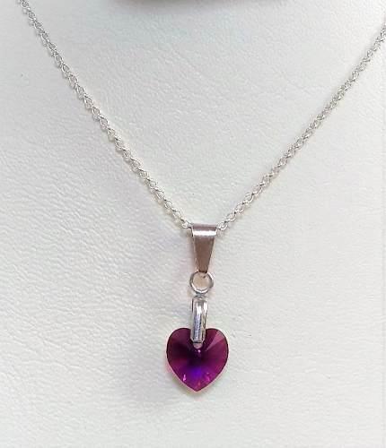Juego Corazón En Plata 950 Y Cristal De Swarovski Purpura.