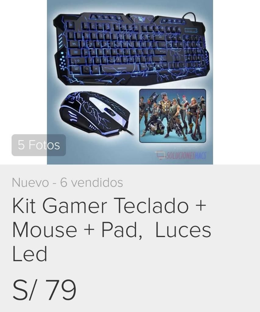 Kit Gamer Más Teclado Mouse Pad Lucesled