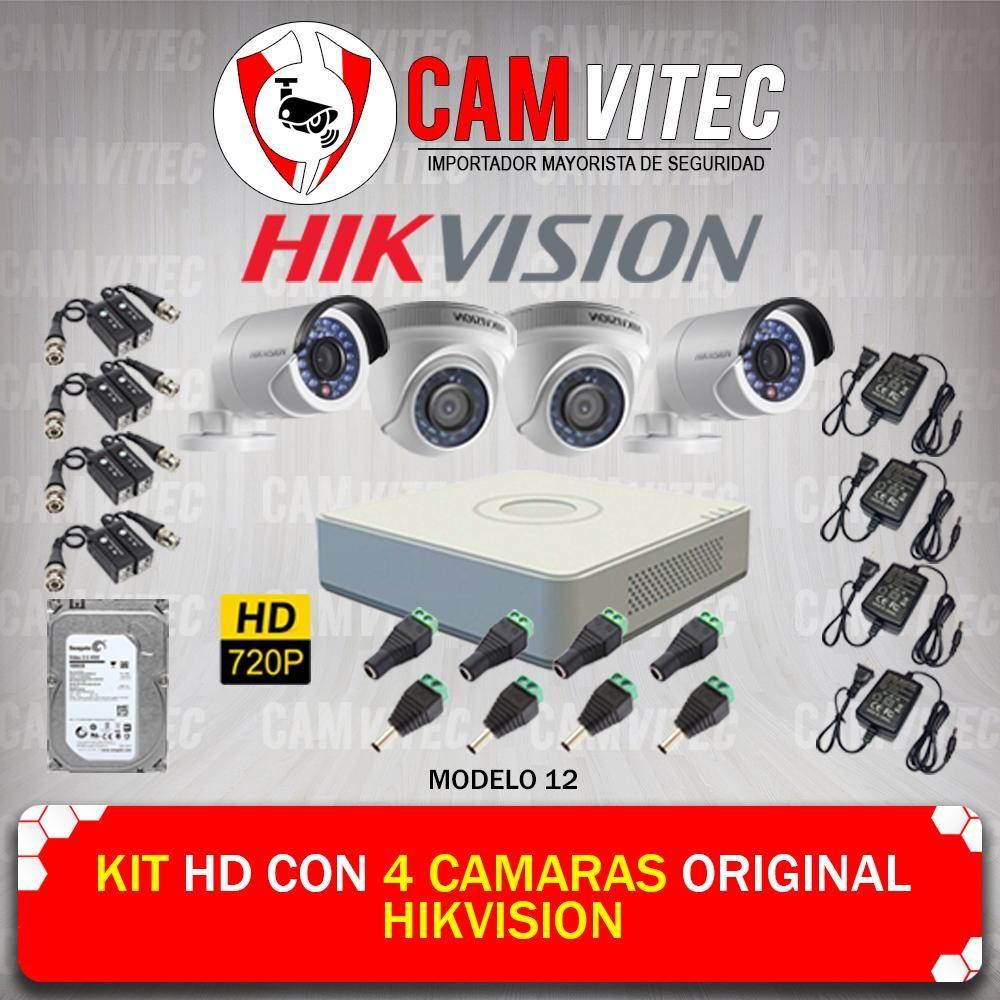 Kit HD 720p con 4 Cámaras Original Hikvision