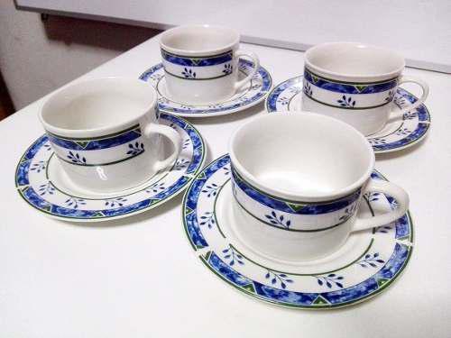 4 Tazas De Porcelana Fina Blanco Con Adornos Azules