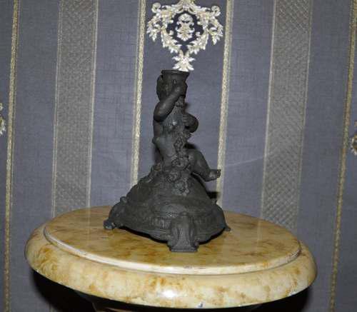 Antigua Escultura Base De Lampara