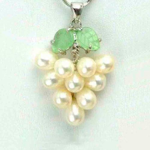 Collar Dije Racimo Uvas Perlas Genuinas Cultivadas Hoja Jade