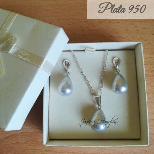 Joyas Mujer Perlas Aretes Dije Collar Plata 950_s/.115