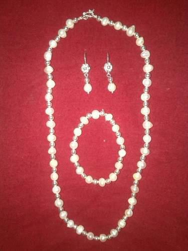 Vendo Hermoso Juego De Plata Y Perlas De Rio Originales