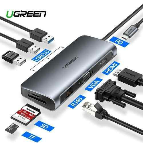 Hub Adaptador 9 En 1 Usb Tipo C Hdmi Red Ugreen Macbook