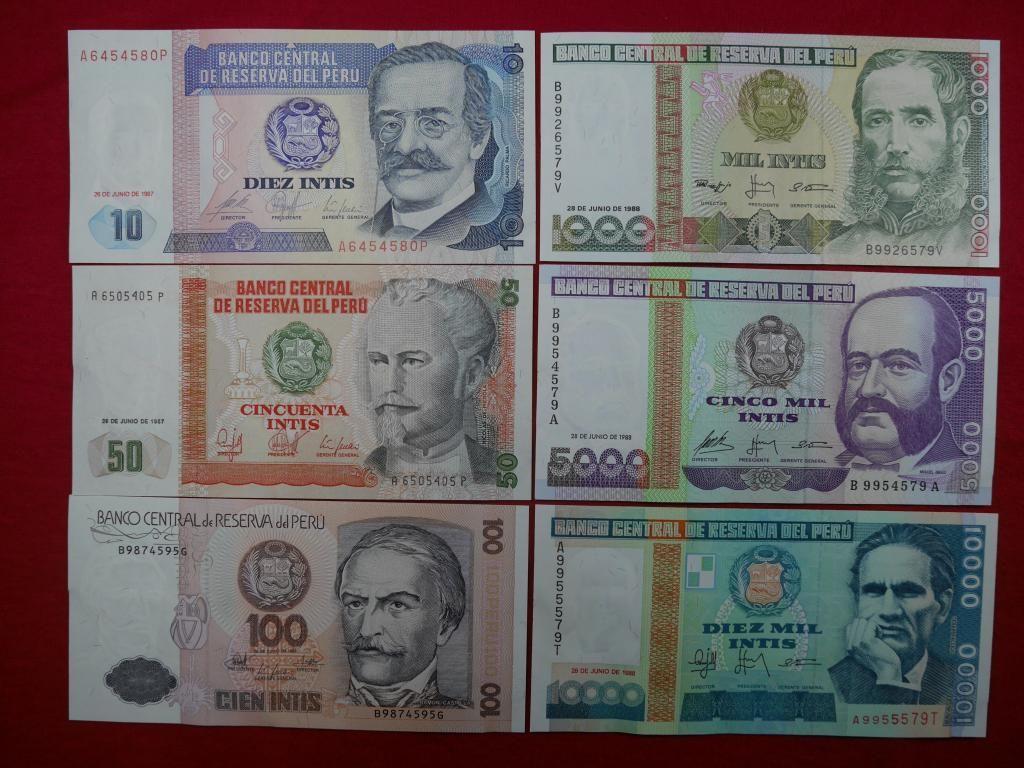 Colección de Billetes del Perú totalmente nuevas y