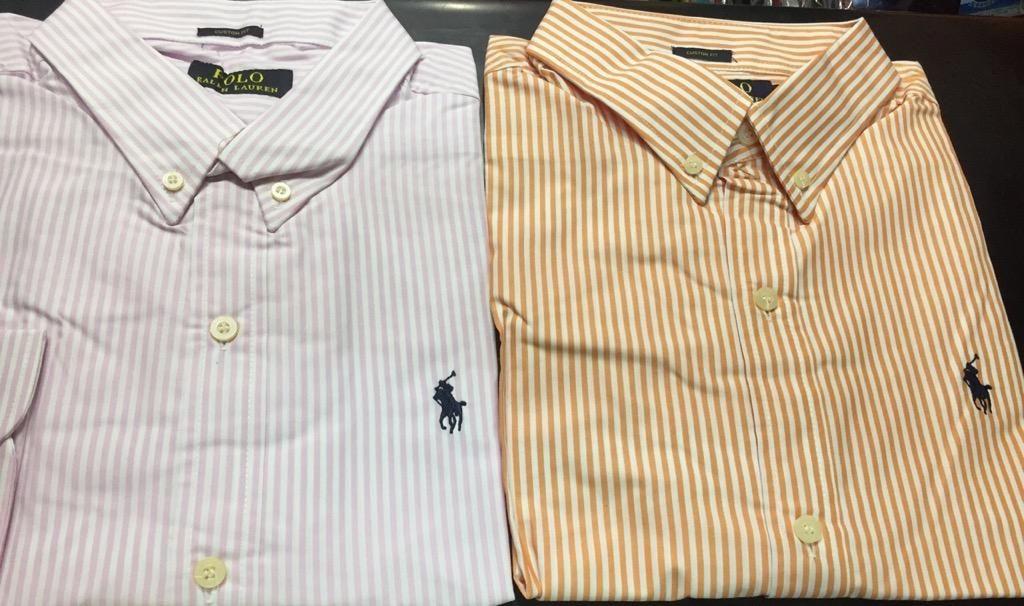 Camisas Polo Ralph Lauren a Rayas Lila Y Naranja Talla Xl