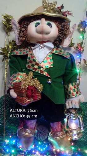 Muñeco De Navidad Elfo Adorno Navideño Hecho A Mano