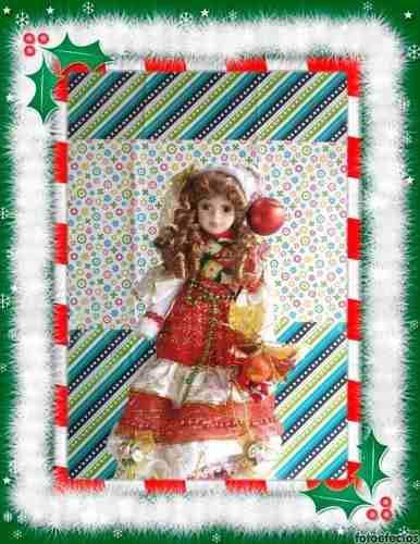 adornos Navideños)muñeca Navideña De Porcelana