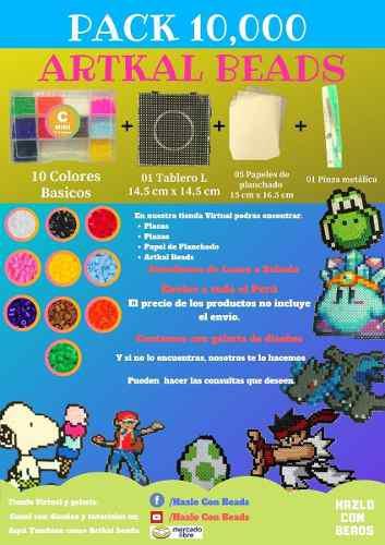 Pack 10,000 Artkal Beads 2.6 Mm + Tablero + Pinza + Papel