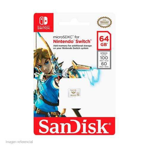 Memoria Sandisk Microsdxc, 64gb, U3, Para Nintendo Switch.