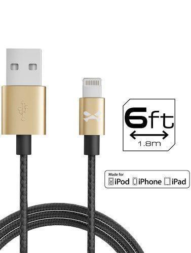 Cable De Carga Ghostek Lightning Para Apple 1.80 Mt - Dorado