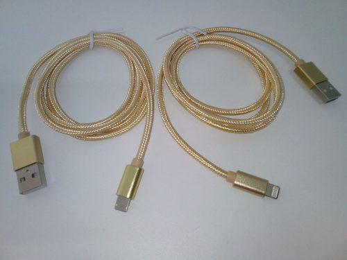 Cable Usb Microusb Y Lightning 2 En 1 V8 iPhone 2.4amp