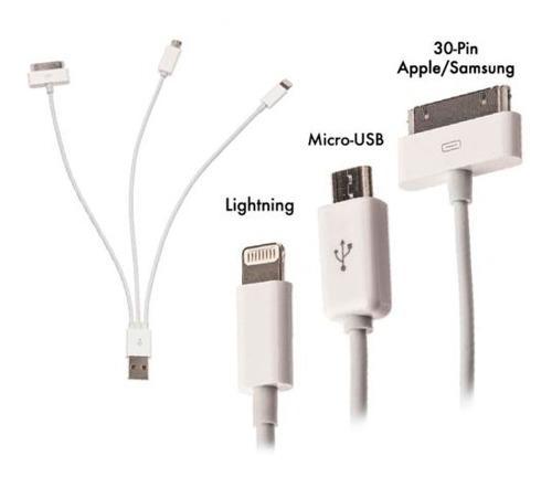 Cable Usb Universal 3 En 1 Para iPhone,iPad, Samsung, Lg,etc