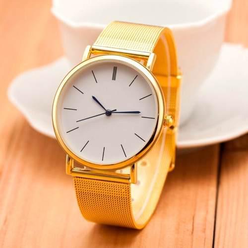 Reloj Pulsera Mujer Geneva Malla De Metal Elegante Oro Plata