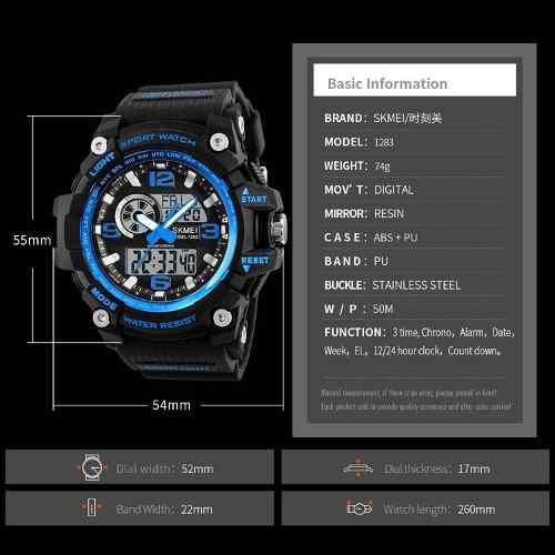 Reloj Skmei G-shock Extremo Acuatico 1283 Caja 100% Original