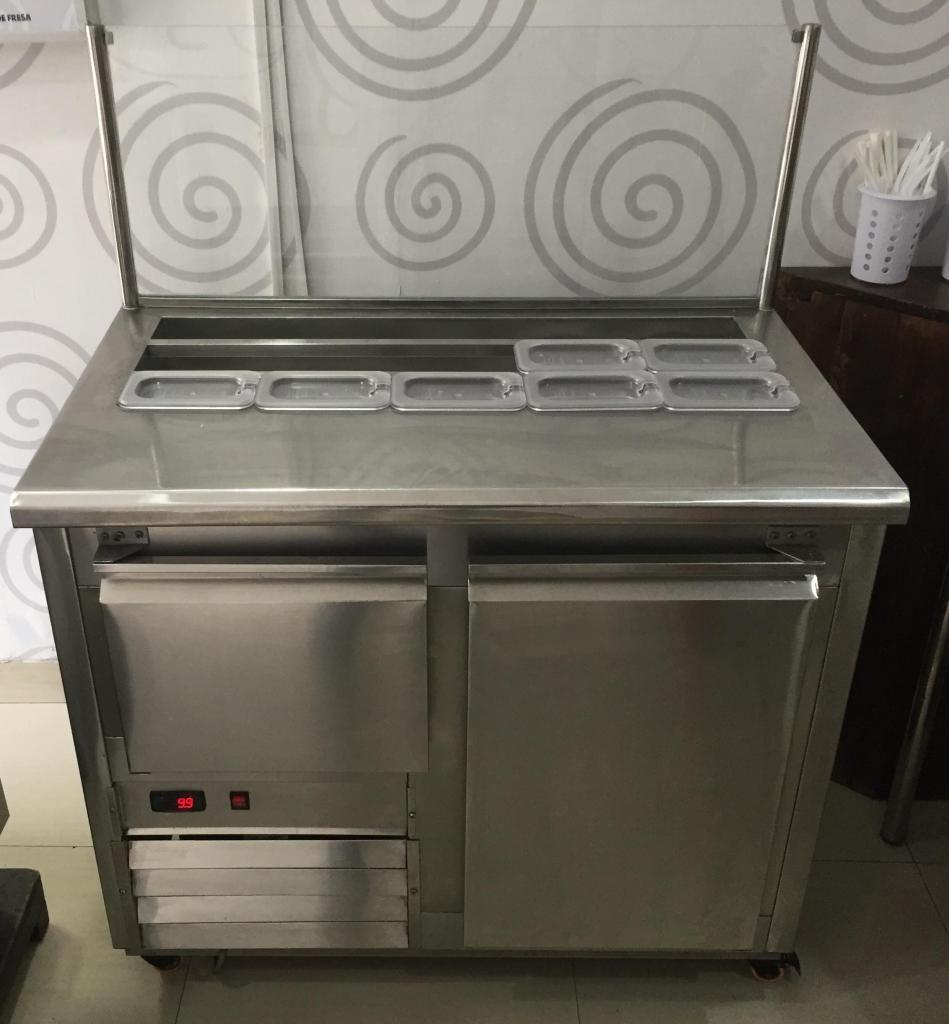 Mesa fría para refrigeración con toppings - Acero