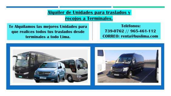 Alquiler de unidades para traslados y recojos a terminales.