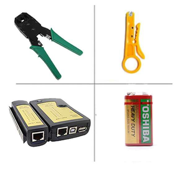 Kit crimpeador + testeador para cable de red y cable usb