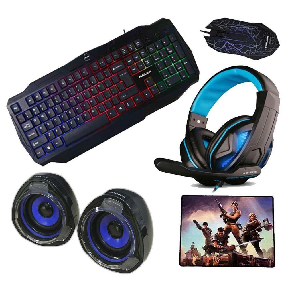 Kit Gamer 5 En 1 Teclado, mouse, audifonos, parlantes,