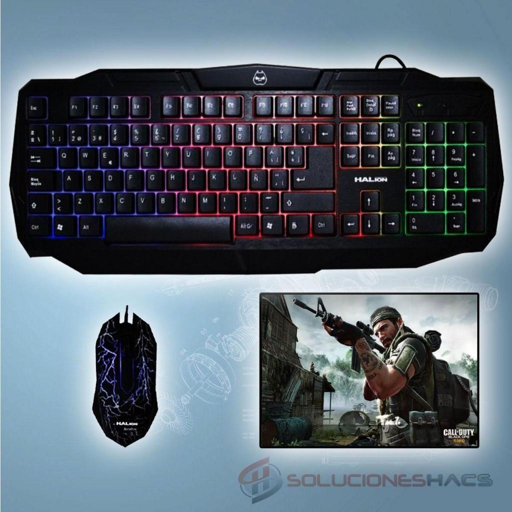 Kit Gamer Teclado Y Mouse Halion Rainbow, Pad Mouse Gratis