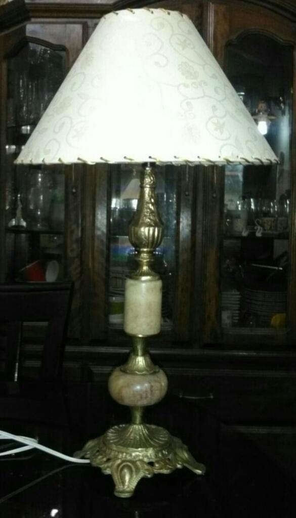 Antigua Lámpara de Bronce Y Mármol