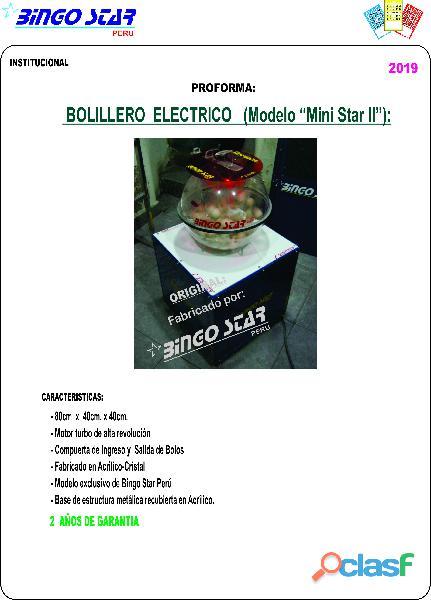 Bolillero electrico de Sorteo Bingo Star Peru