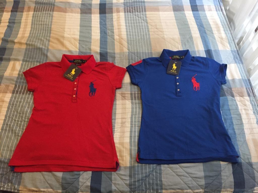 Camiseros Polo Ralph Lauren Mujer Rojo Azulino Colores