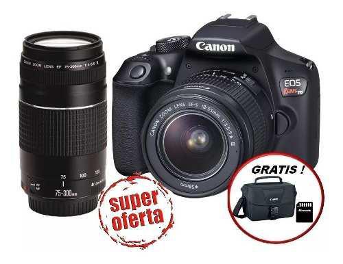 Cámara Canon Eos Rebel T6 Dc + Ef S18-55 + Ef 75-300+sd16gb