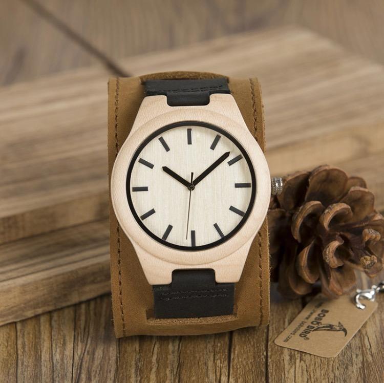 Reloj Bobo Bird Bambú Correa Cuero Hombre Caballero