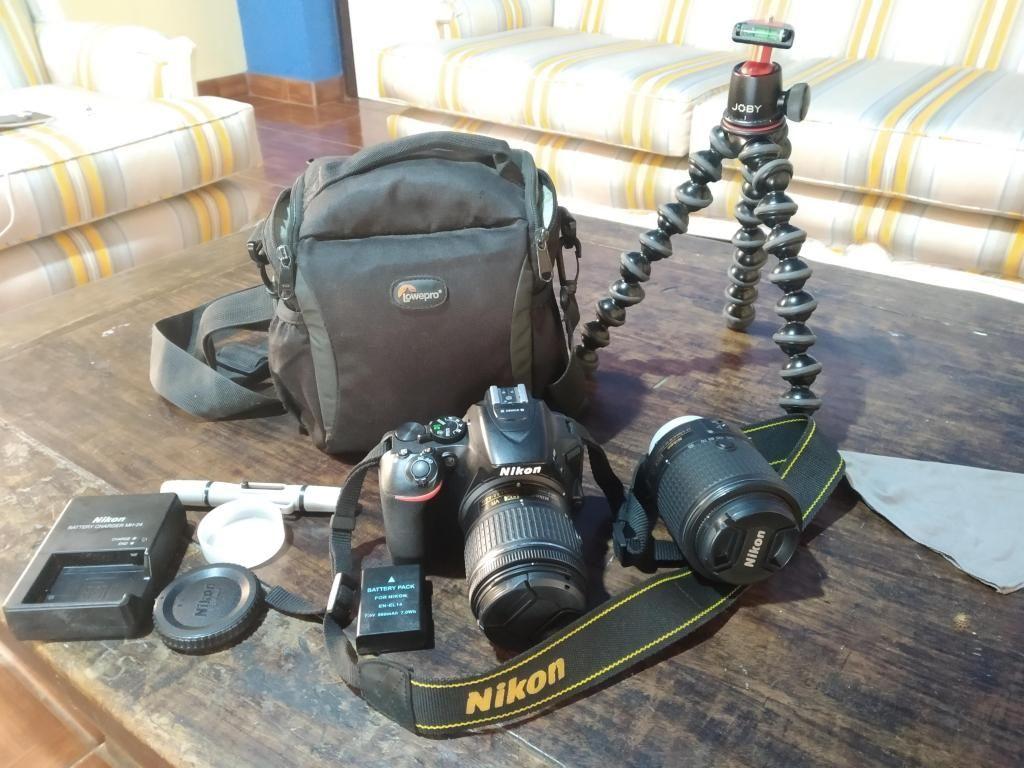 Cámara Nikon D Con Dos Objetivos, Trípode y Mas