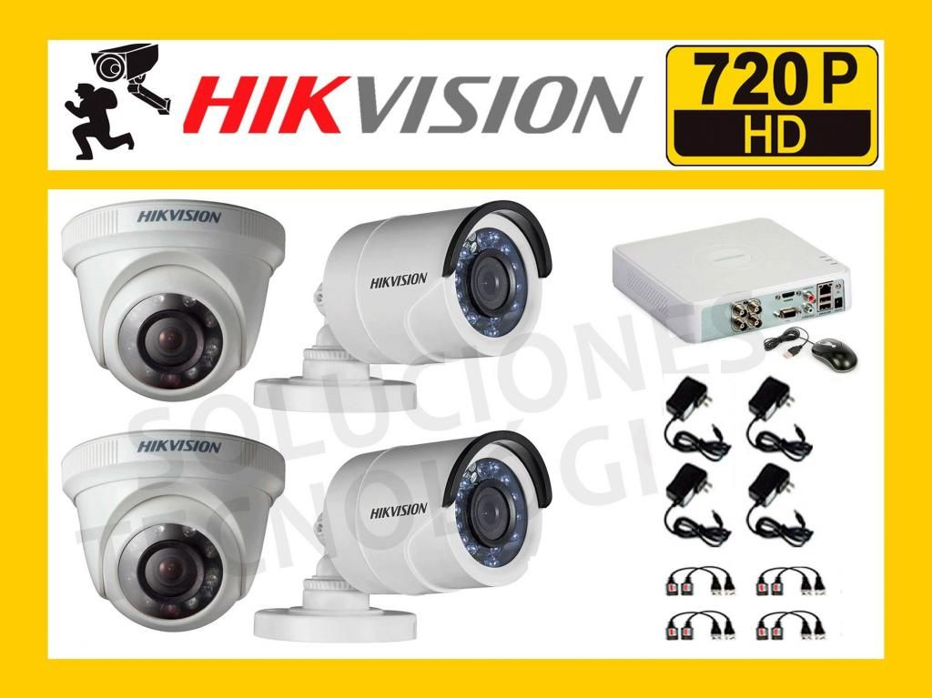 Kit 4 Camaras de Seguridad HIKVISION HD 720P HIKVISION