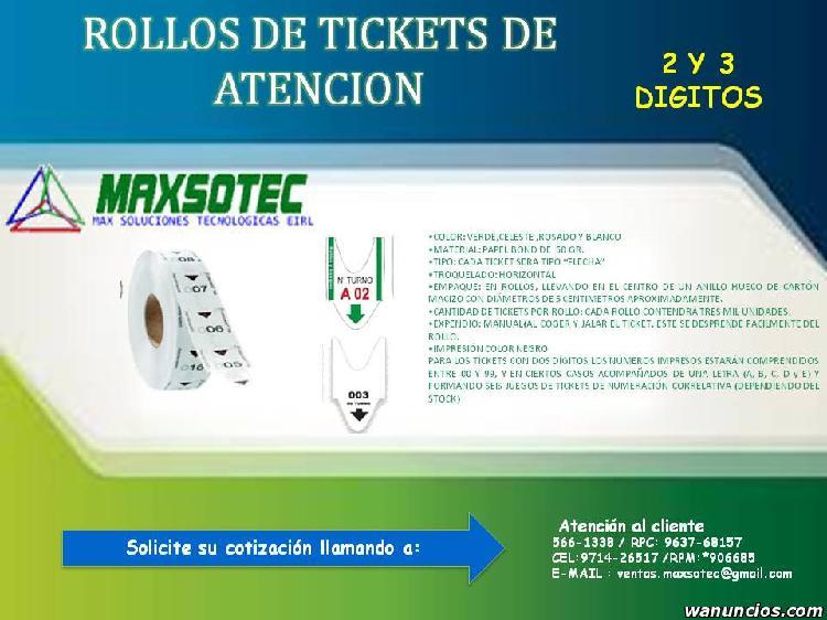 MAXSOTEC/ROLLOS DE TICKETS DE 2 Y 3 DÍGITOS /VARIOS
