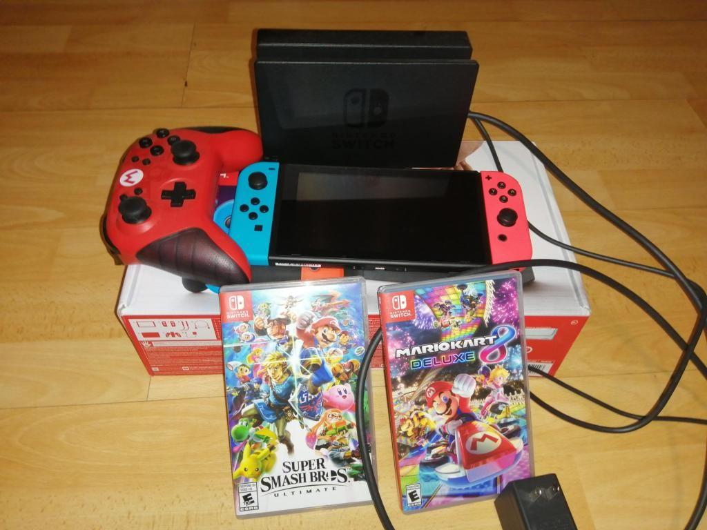 Nintendo Switch, Smash, Mario Kart y Control Pro de Mario