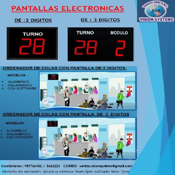 PANTALLAS ELECTRÓNICAS DE TURNOS ALAMBRICA