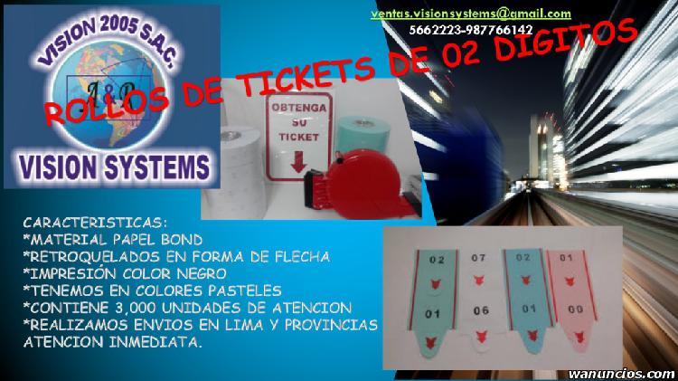 ROLLOS DE TICKETS DE 02 DIGITOS VISION 2005 SAC