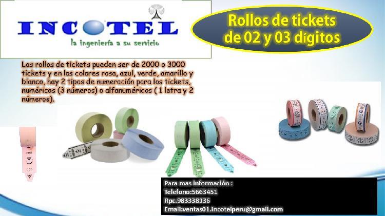 ROLLOS DE TICKETS DE 2 Y 3 DIGITOS/ INCOTEL PERU/CONTACTENOS