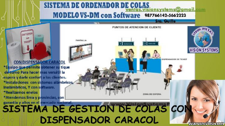 SISTEMAS DE COLAS CON DISPENSADOR CARACOL