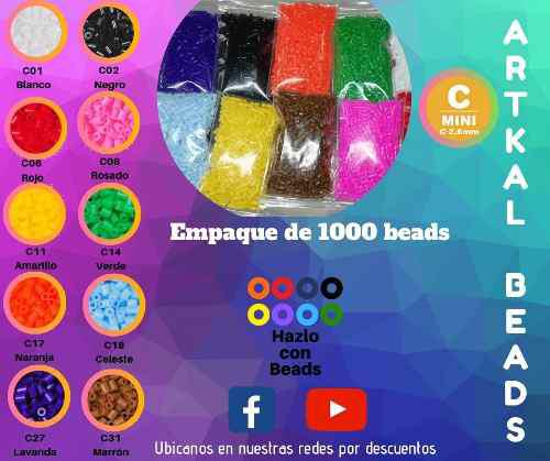 Empaque De 1000 Pcs 2.6 Mm/hama Beads - Hazlo Con Beads