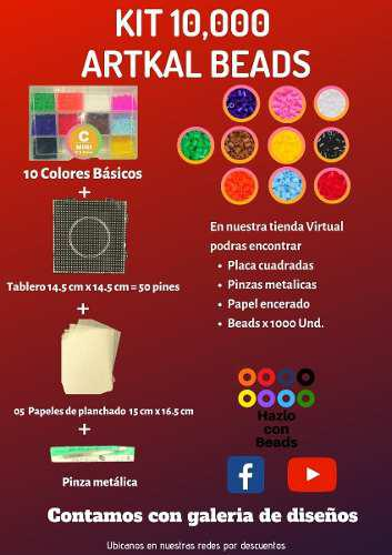 Pack 10,000 Beads 2.6mm Tablero+pinza+papel-hazlo Con Beads