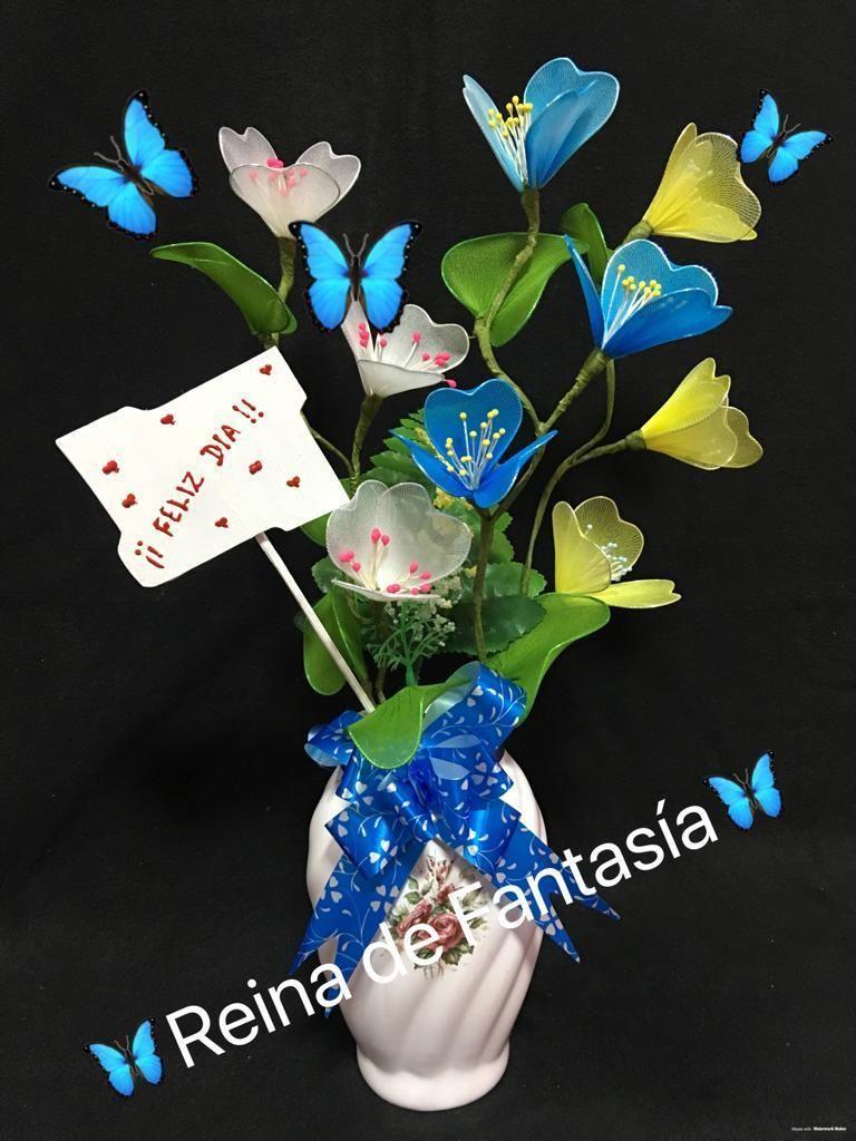 Arreglo floral en maceta de loza para decoracion o regalo
